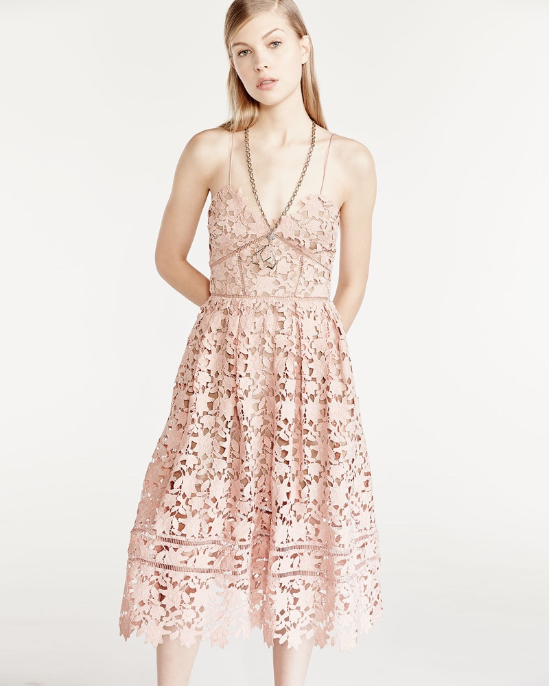Self Portrait Azaelea Guipure-Lace Illusion Dress in Pink