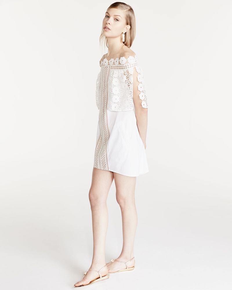 Self Portrait Serena Off-the-Shoulder Poplin Dress in White