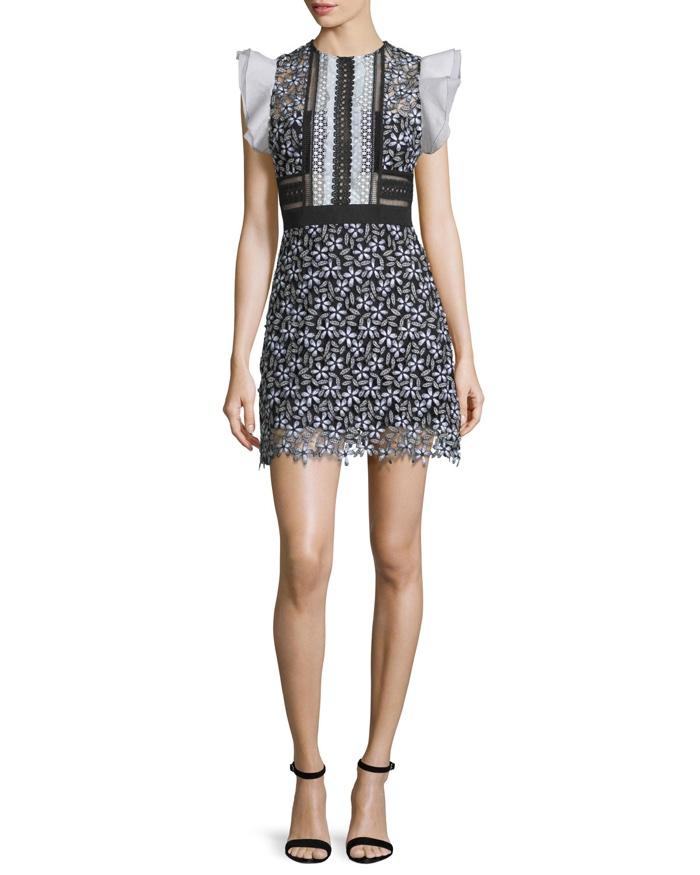 Self Portrait Sleeveless Lace Mini Dress in Black & White