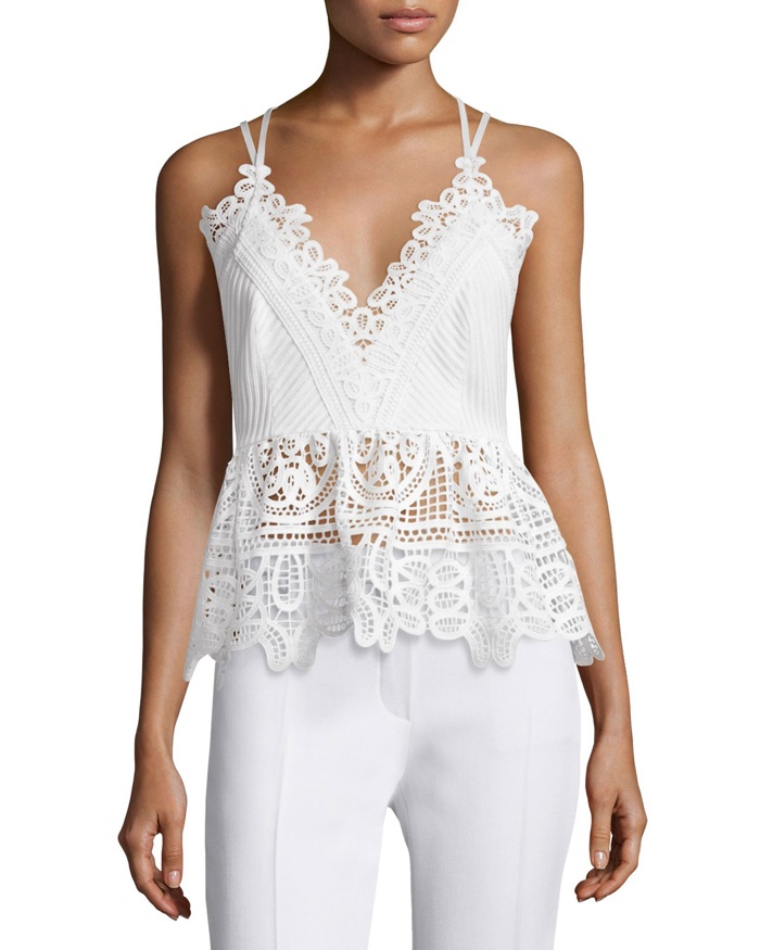Self Portrait Sleeveless Textured Lace Trim Top in White