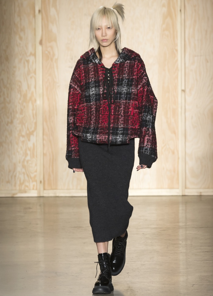 FEBRUARY 2016: Soo Joo Park walks the runway at DKNY's fall-winter 2016 show presented during New York Fashion Week. Photo: Ovidiu Hrubaru / Shutterstock.com