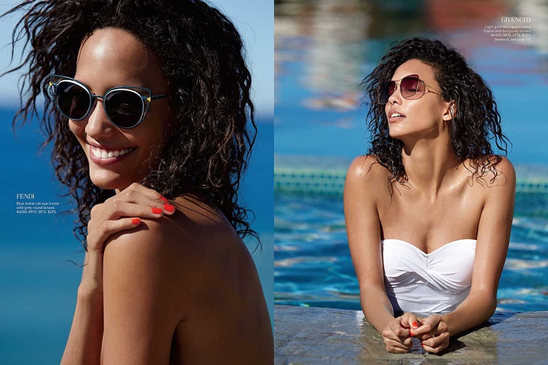 Posing poolside, Cora models white swimsuits to go along with the designer sunglasses