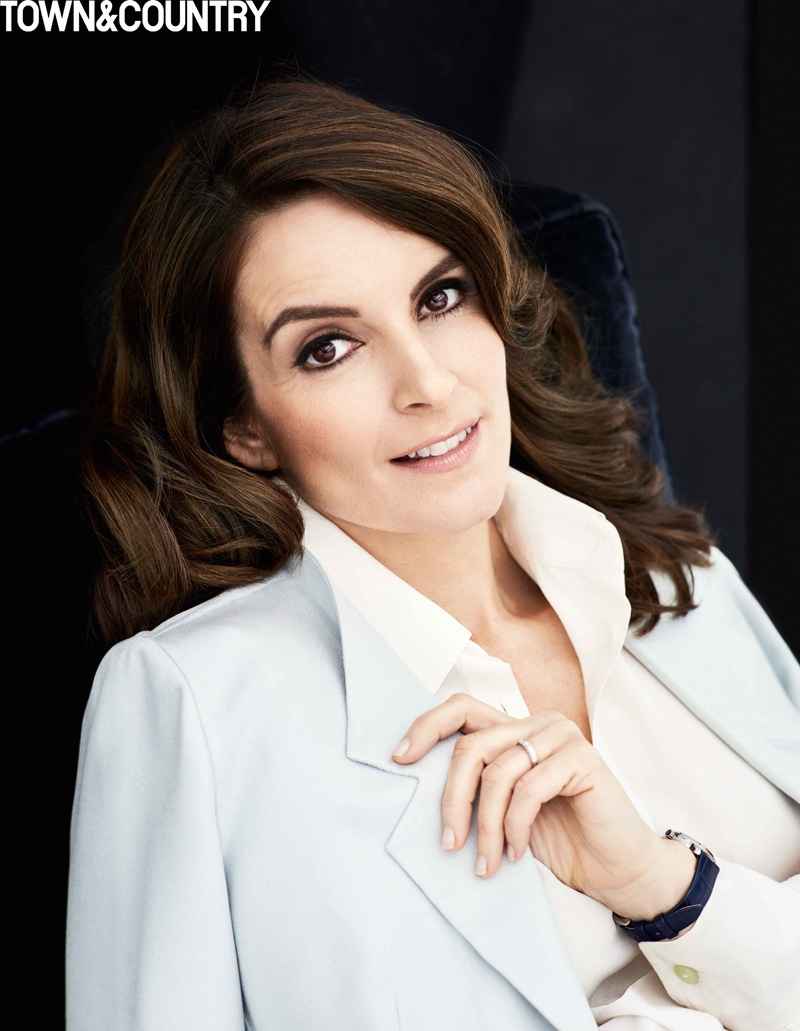 Tina Fey wears a wavy hairstyle in the April issue of Town & Country