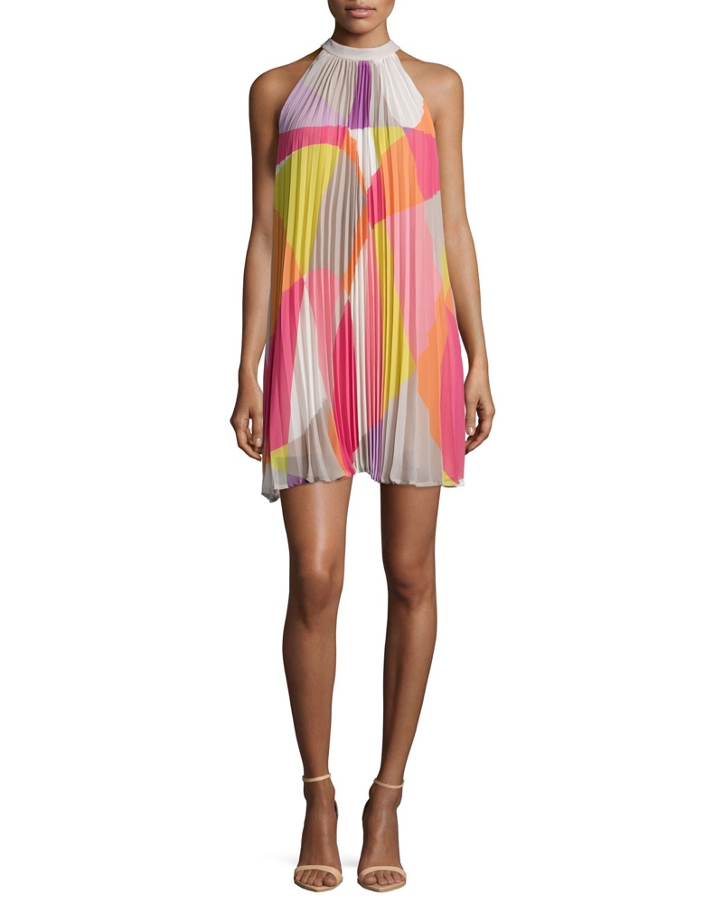 Trina Turk Sleeveless Mod Print Pleated Dress