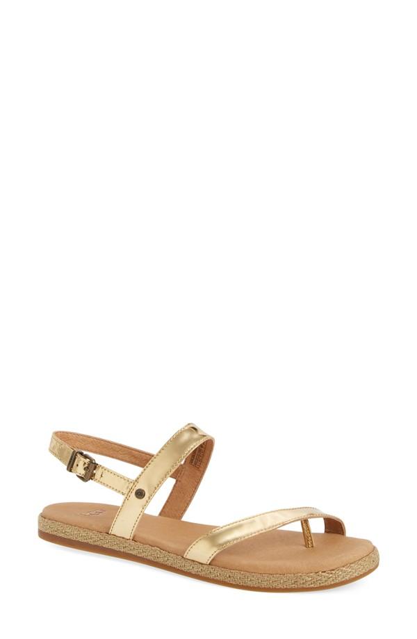 Gold Flat Sandals Shop Women
