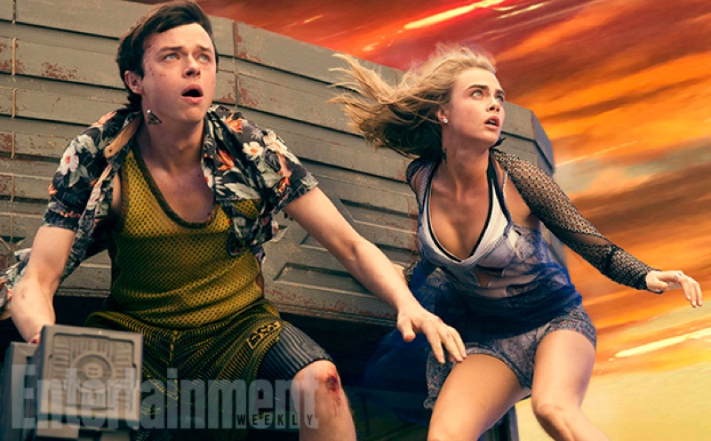 Dane DeHaan and Cara Delevingne look in danger on set of Valerian film. Photo: EW