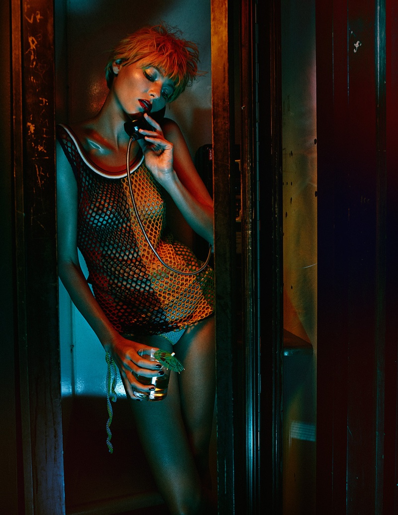 Photographed for Schon Magazine, Vika Falileeva wears a mesh tank top