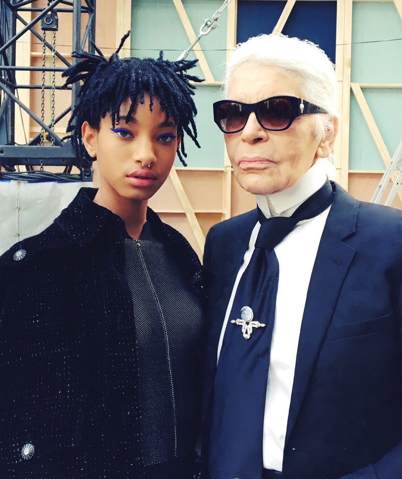 Willow Smith and Karl Lagerfeld at Chanel's fall-winter 2016 show presented during Paris Fashion Week. Photo: Chanel
