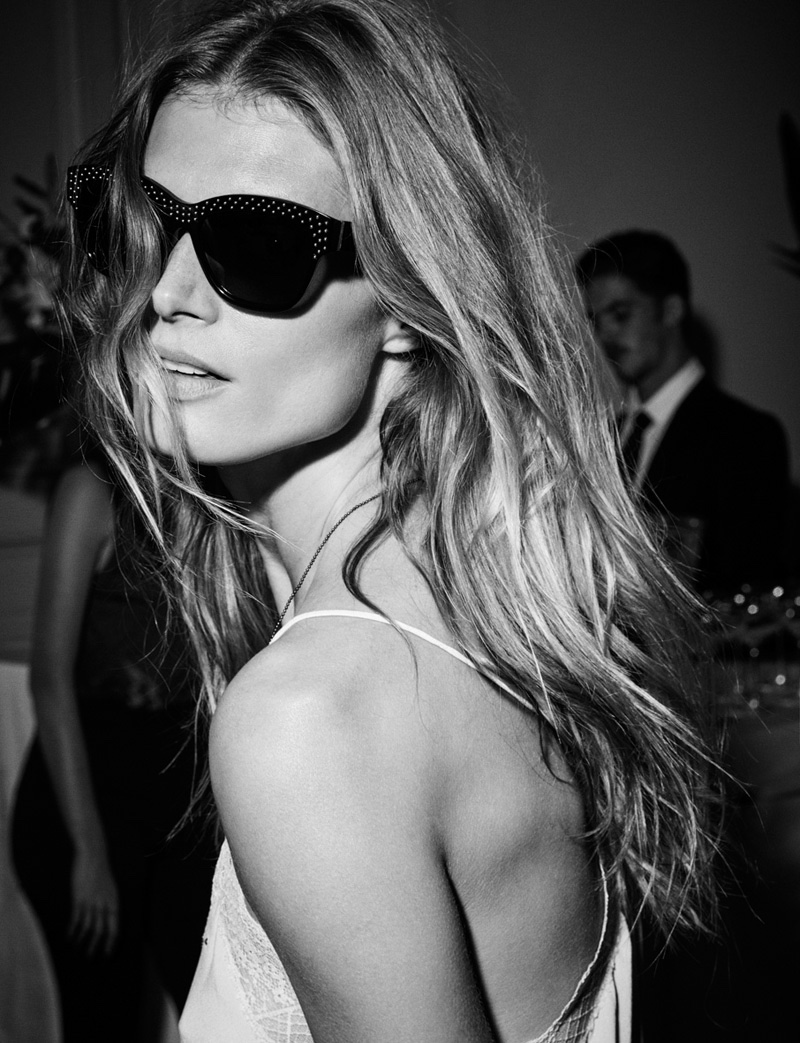 Malgosia Bela poses in sunglasses from Zadig & Voltaire's spring 2016 collection