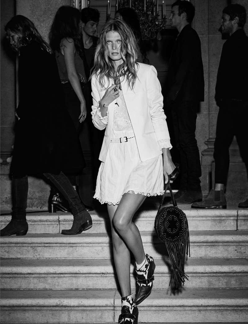 Malgosia Bela poses in a white blazer and shorts from Zadig & Voltaire's spring 2016 collection