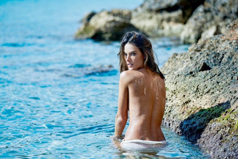 Alessandra Ambrosio models Glimmer Bohemian body art
