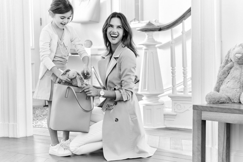 Alessandra Ambrosio is all smiles with the MICHAEL Michael Kors Emry Large Leather Tote