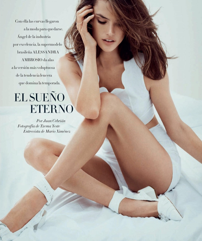 Alessandra Ambrosio poses in lingerie inspired looks for the fashion editorial