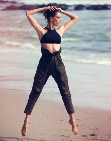 Alessandra Ambrosio Brings Sporty Style to the Beach for The Edit
