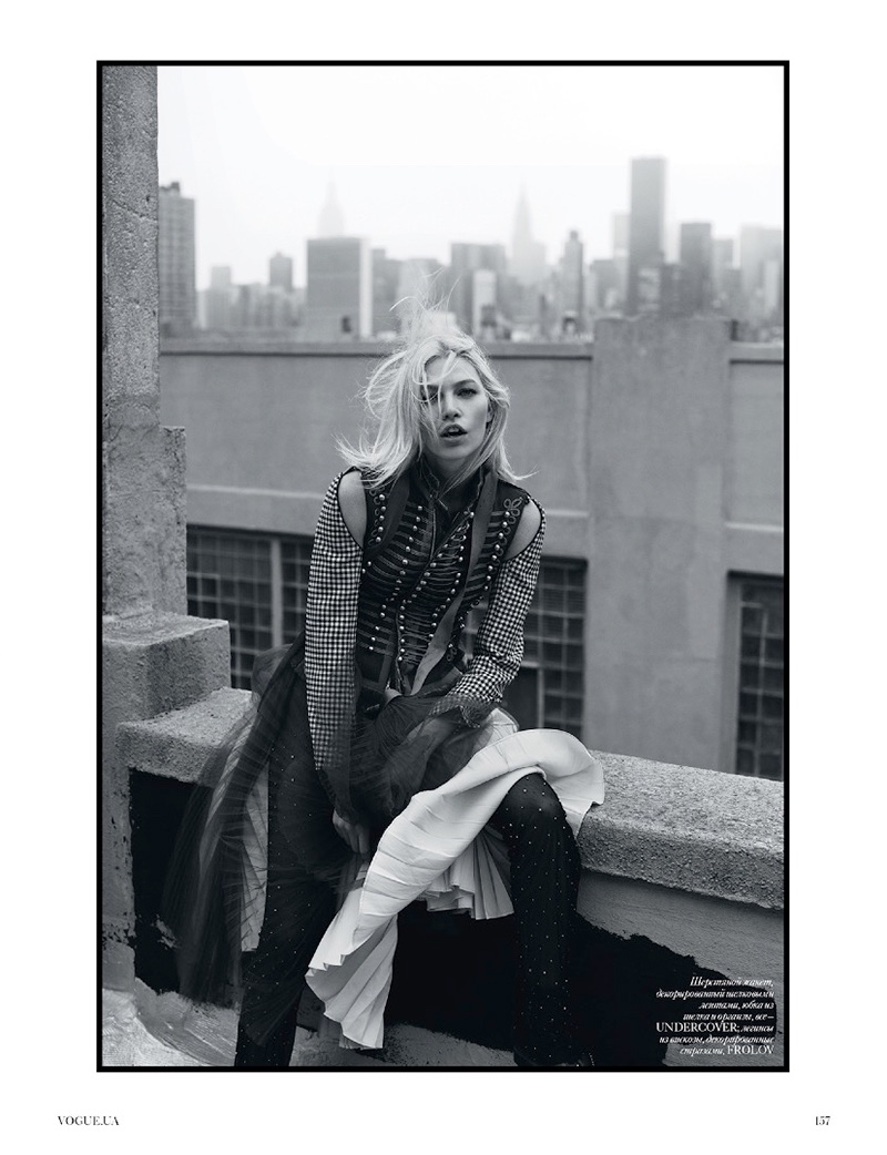 Aline Weber layers up in the designs of Undercover and Frolov