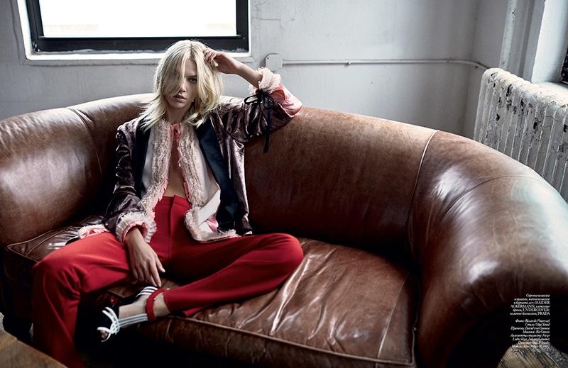 Aline Weber models Haider Ackermann jacket and shirt, Undercover pants with Prada heels