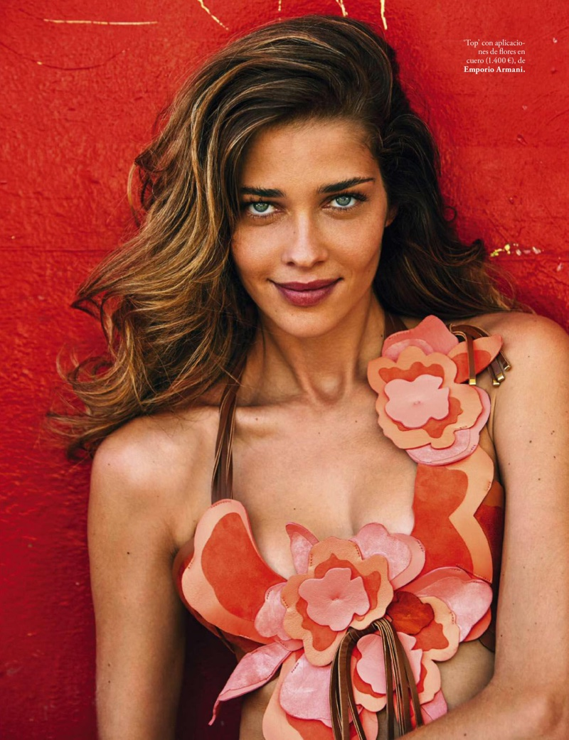 Ana Beatriz Barros flashes a smile in an Emporio Armani top with floral appliqué