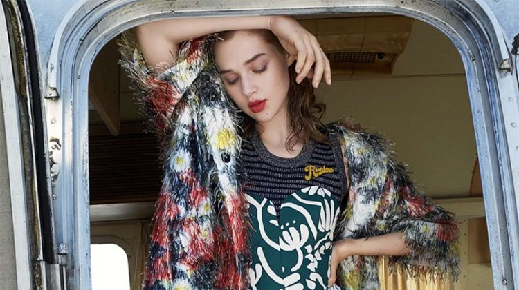 Anais Pouliot Poses in a Mix of Prints for ELLE France Editorial