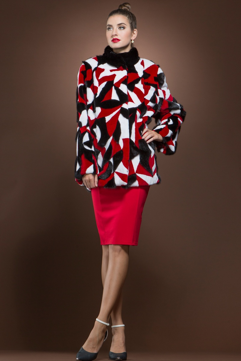 Anamoda Long Haired Ranch, Sheared White and Crimson Mink Fur Jacket  $4,199 - This color-blocked fur by Anamoda is certainly a standout. Be the lady in red by pairing this with a scarlet dress or keep it more pared down with a black pair of pants.