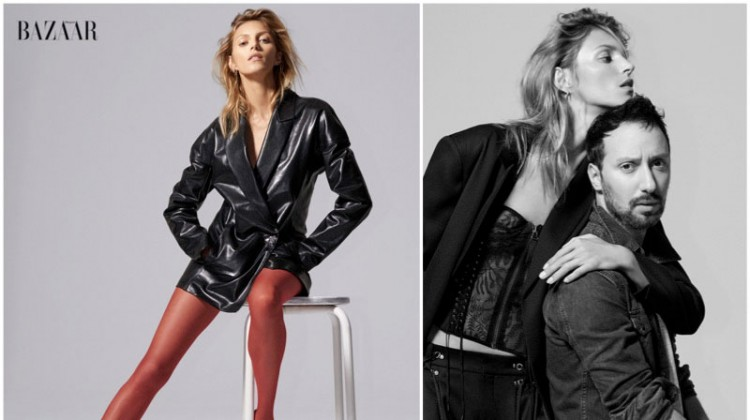 Anja Rubik Models Anthony Vaccarello's Sexy Designs for BAZAAR
