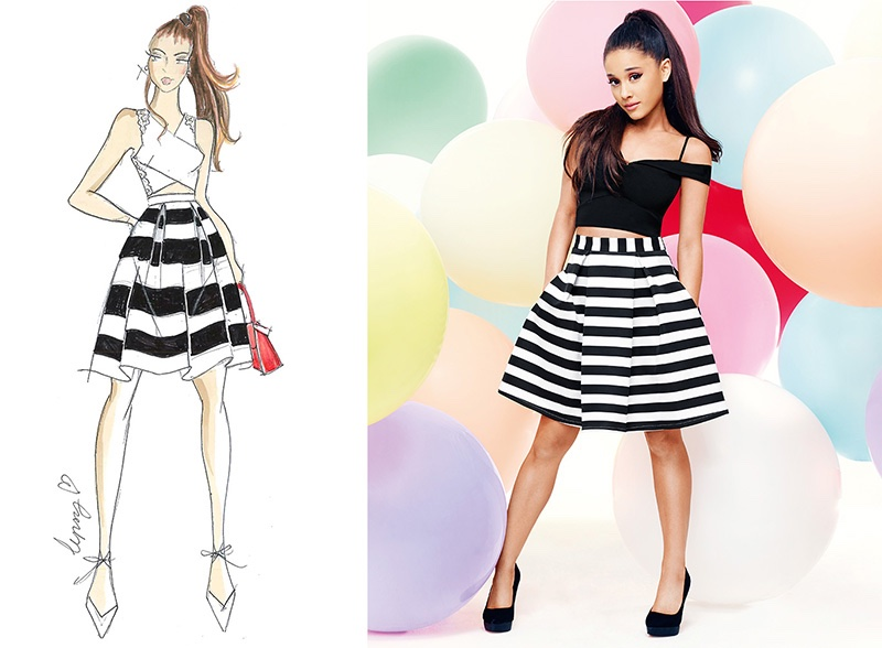 Ariana Grande x Lipsy Bardot Crop Top and Striped Prom Skirt