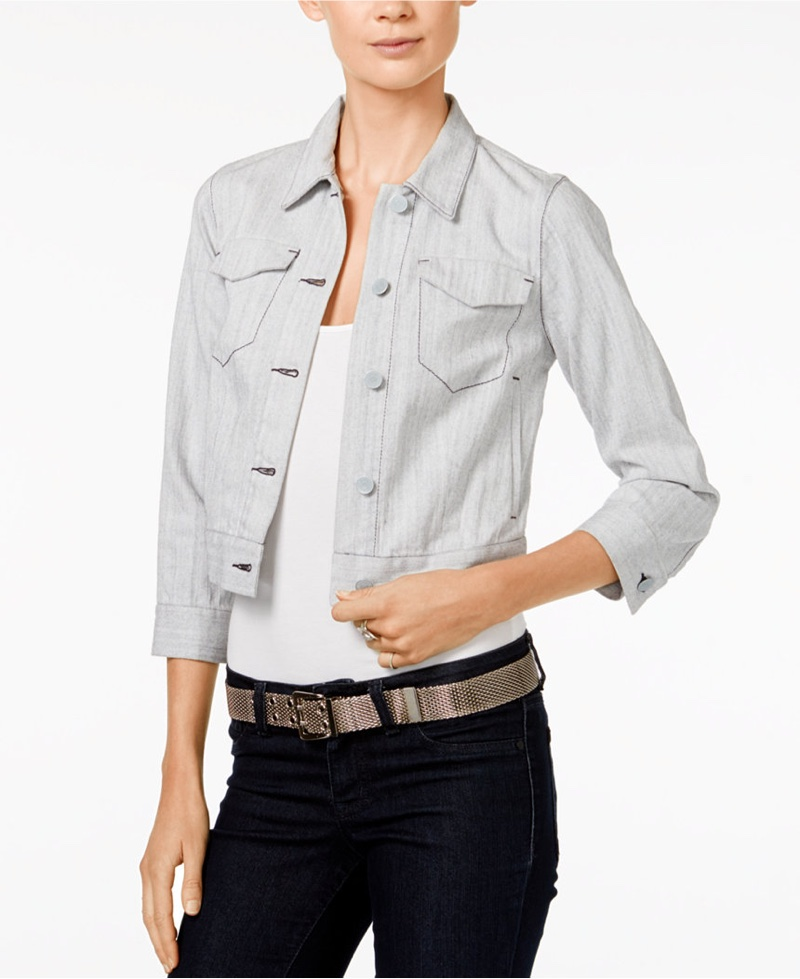 Armani Exchange Cropped Denim Jacket