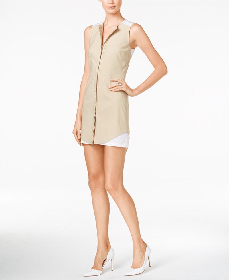 Armani Exchange Sleeveless Colorblocked Shirtdress