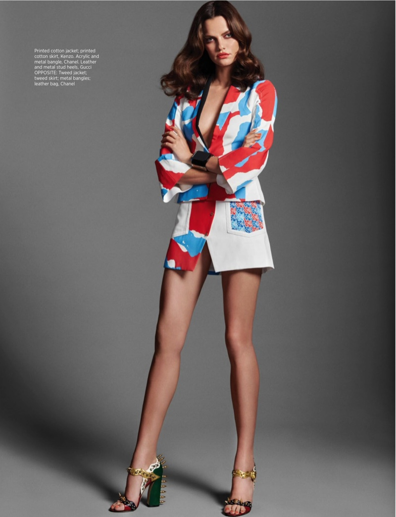 Hitting the studio, Barbara wears a Kenzo printed jacket and skirt with Gucci embellished heels