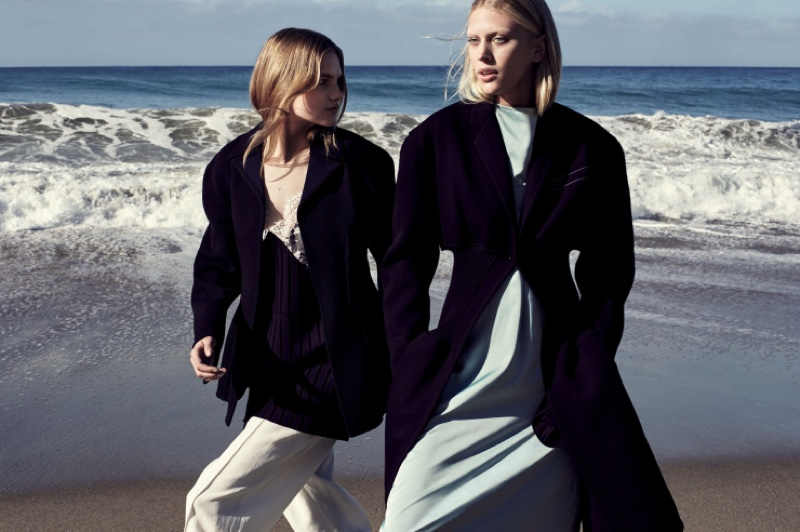 Aneta and Juliana pose in coats and separates from Celine