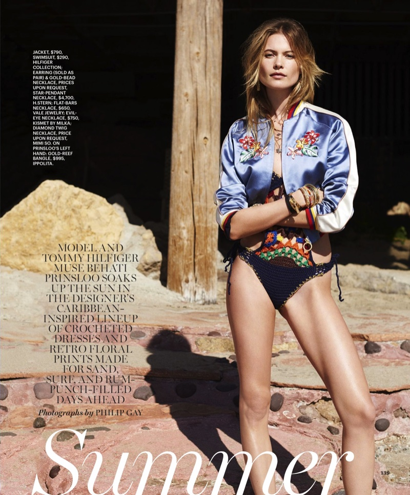 Photographed at the beach, Behati Prinsloo models looks from Tommy Hilfiger