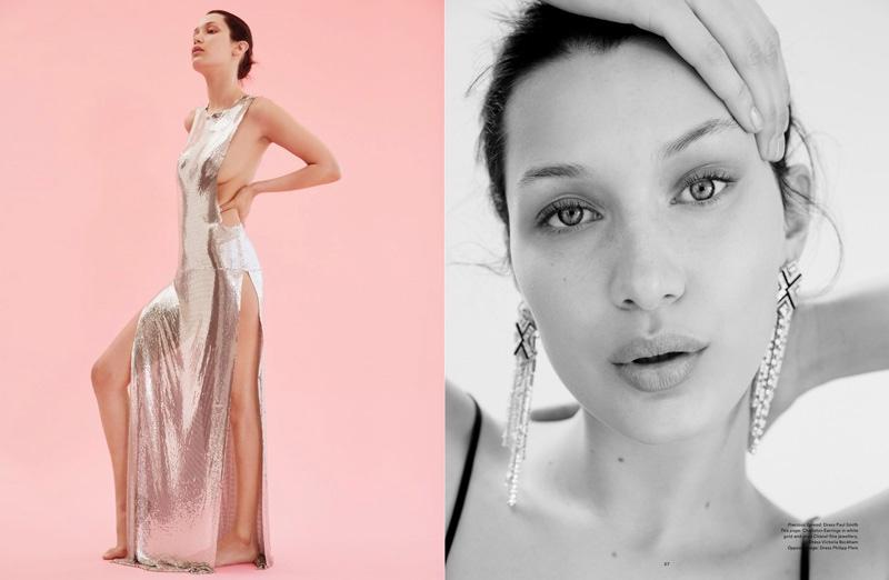 (Left) Bella Hadid models a silver Paul Smith gown (Right) Bella models dangled earrings from Chanel Fine Jewellery