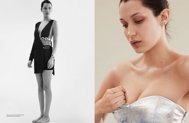 (Left) Bella Hadid shows some skin in a Versus Versace dress (Right) Bella wears silver Moschino dress