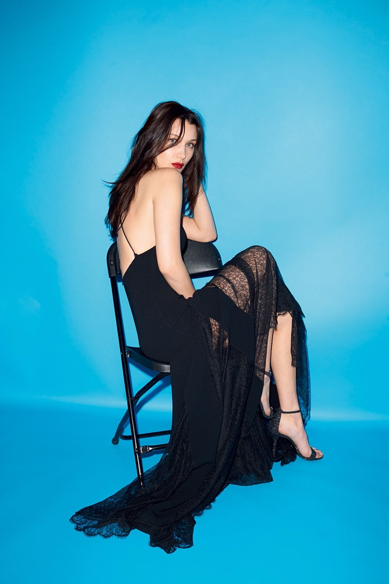 Looking gorgeous in black, Bella Hadid models a gown and strappy heels