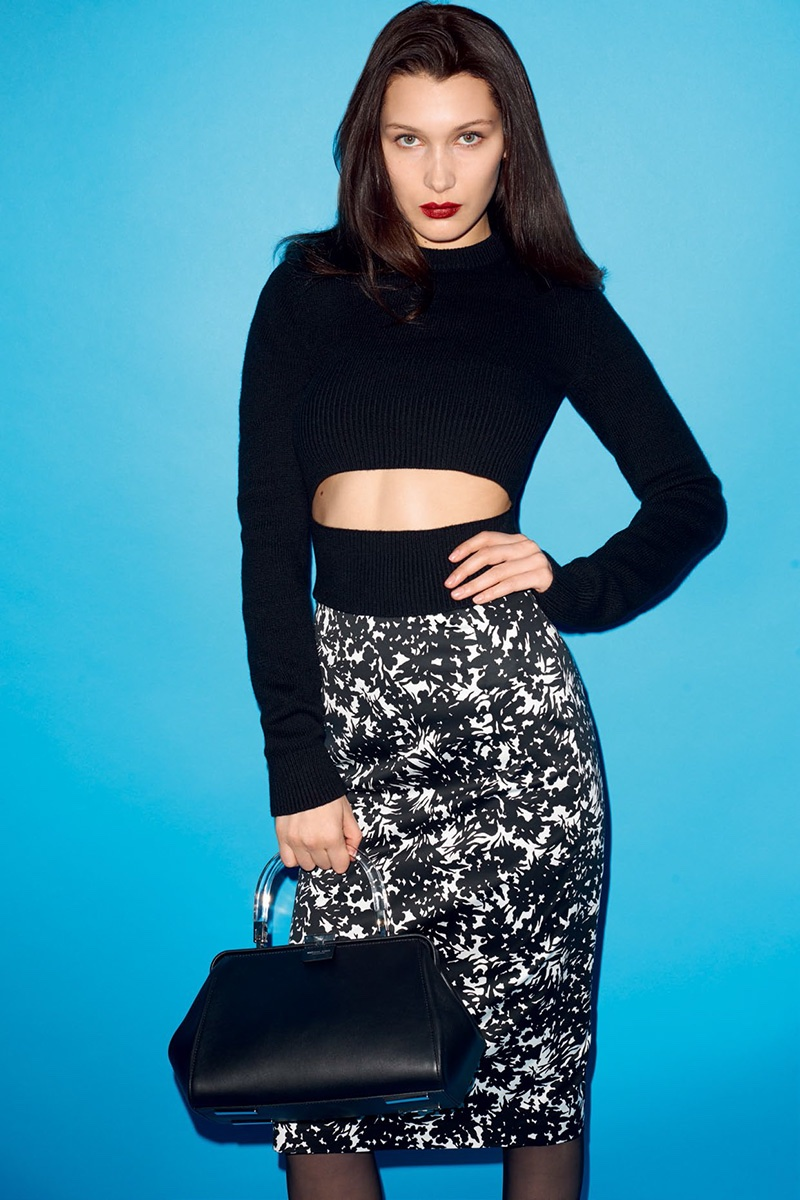 Bella Hadid rocks a crop top sweater and pencil skirt
