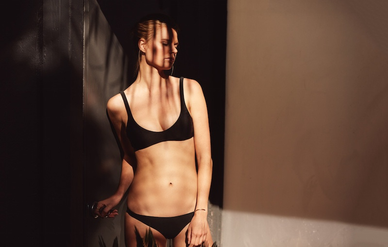 BIKYNI's spring 2016 collection features The Plunge bikini with The Tieless String bottoms