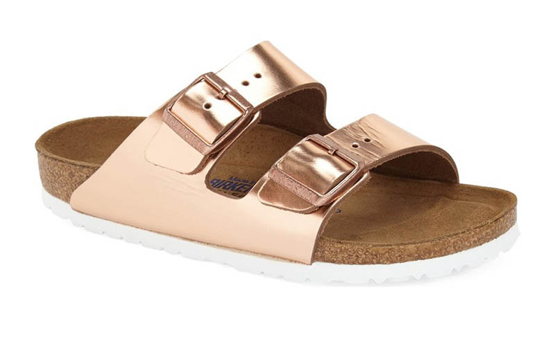 Birkenstock Arizona Soft Footbed Sandal in Copper Leather