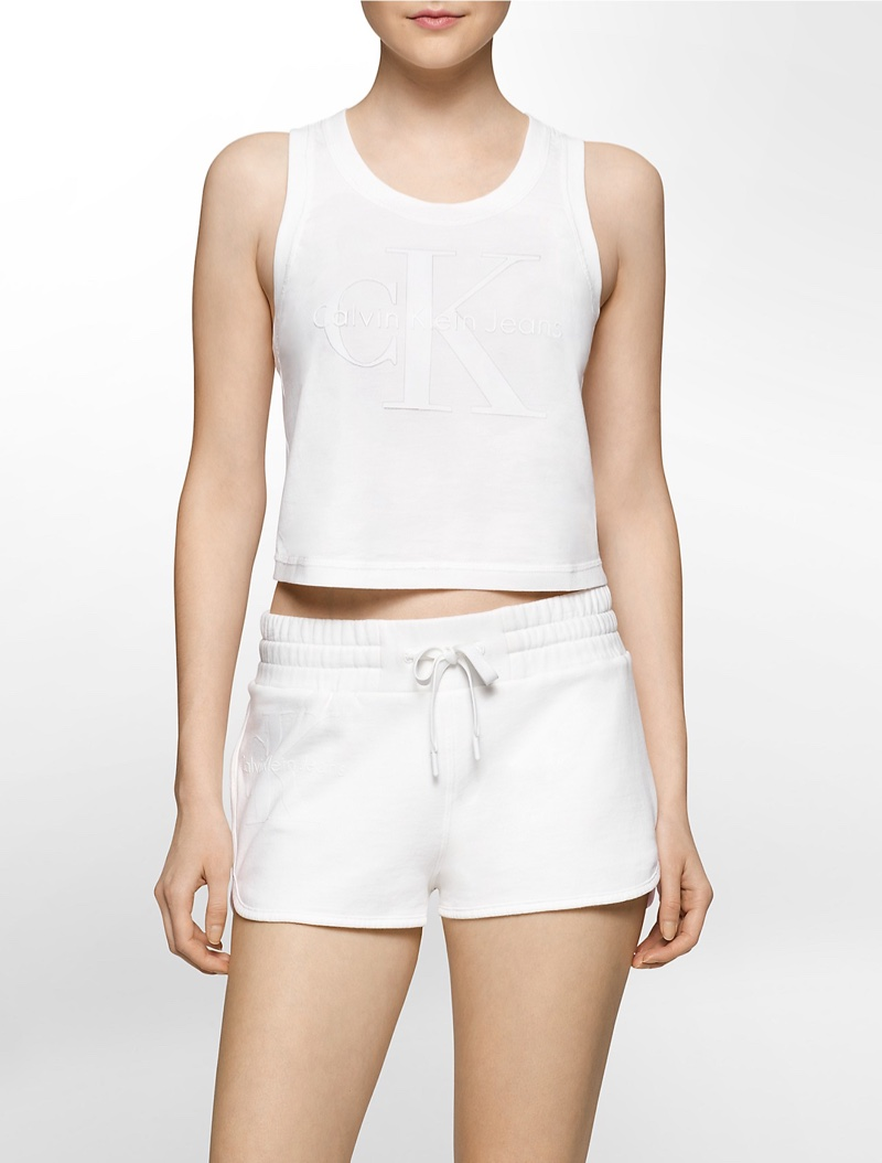 calvin klein crop top and shorts