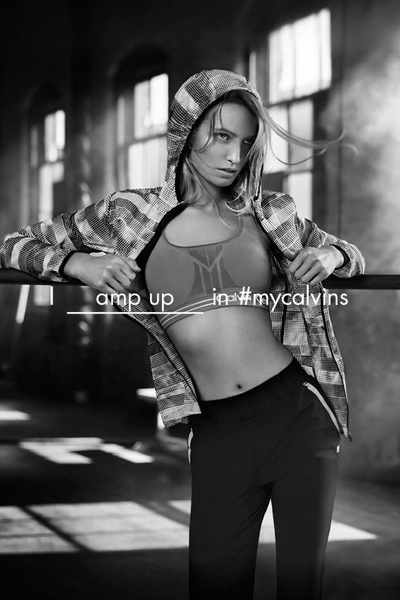 Calvin Klein Performance's spring 2016 campaign features sports bra, hooded jacket and leggings look