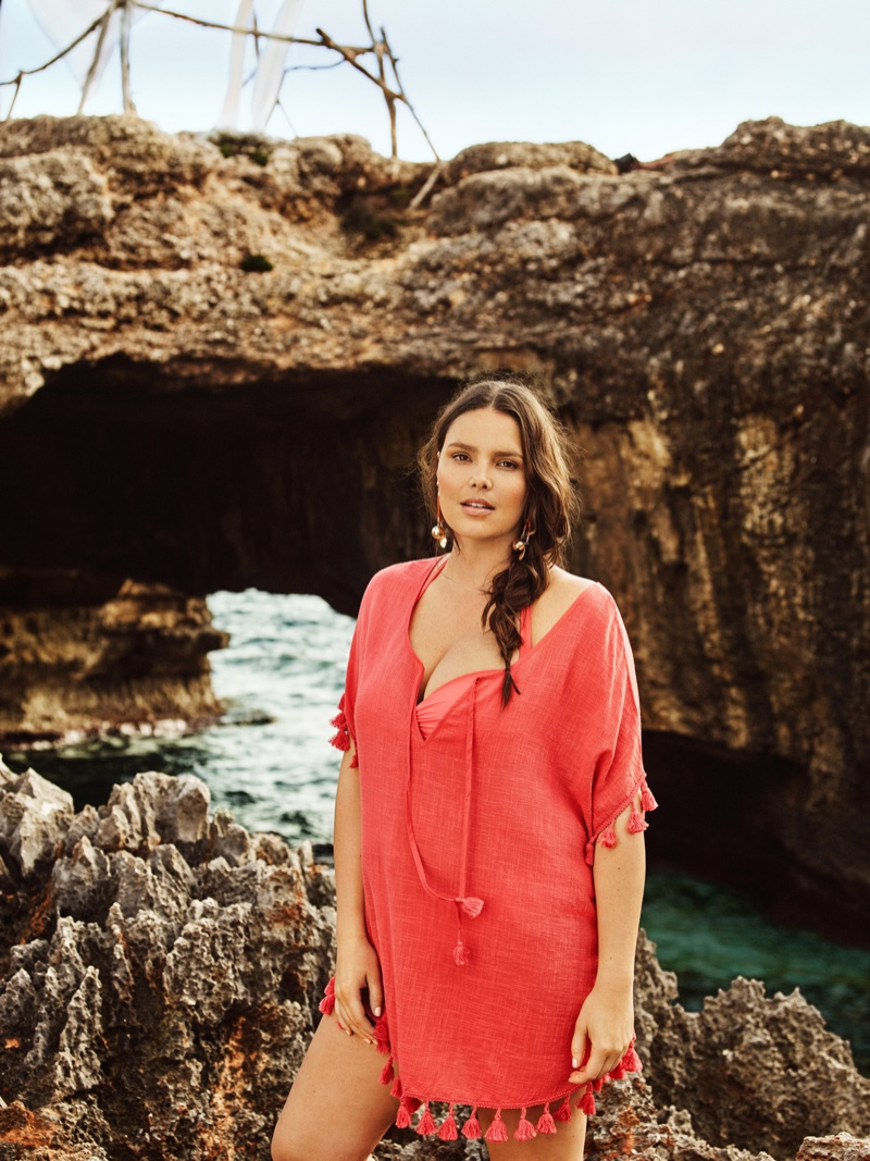 Violeta by Mango features a coral beach cover-up with tassel embellishment
