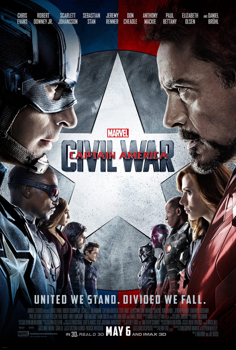The cast of Captain America Civil War on movie poster