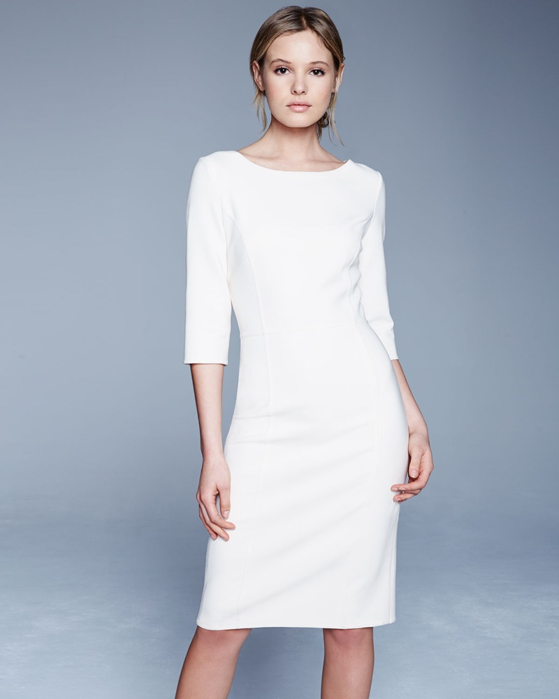 Carolina Herrera 3/4 Sleeve Round Neck Sheath Dress