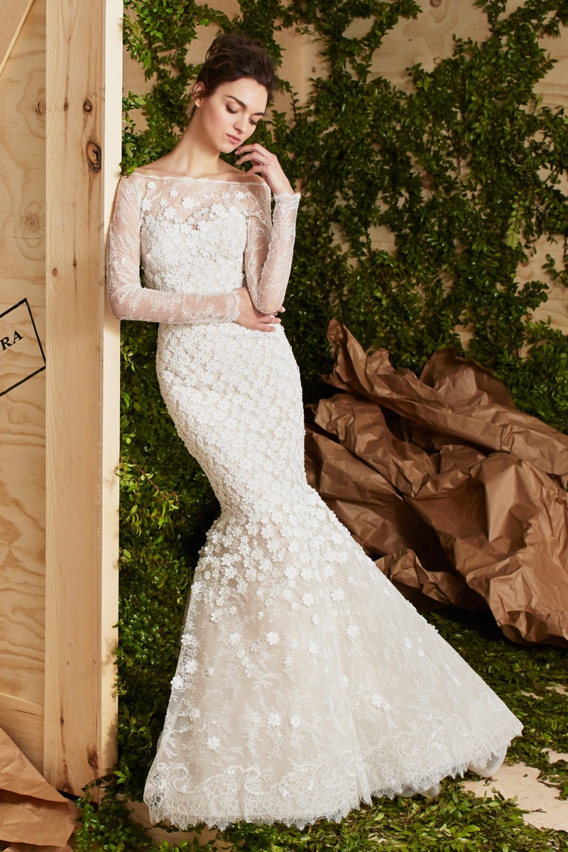 The Addie gown from Carolina Herrera Bridal's spring 2017 collection is made of floral guipure lace with a mermaid silhouette