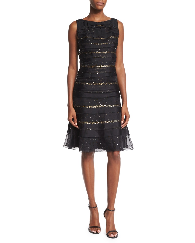 Carolina Herrera Sequin Striped Tiered Cocktail Dress