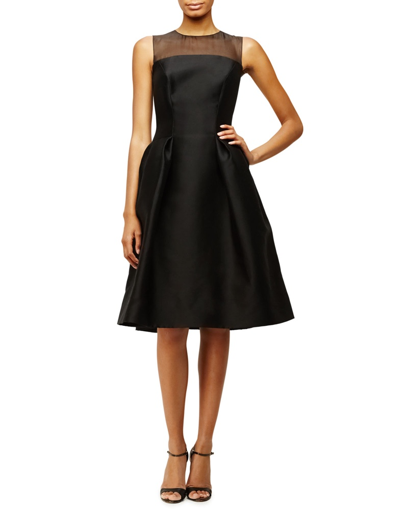 Carolina Herrera Sleeveless Sheer Yoke Cocktail Dress