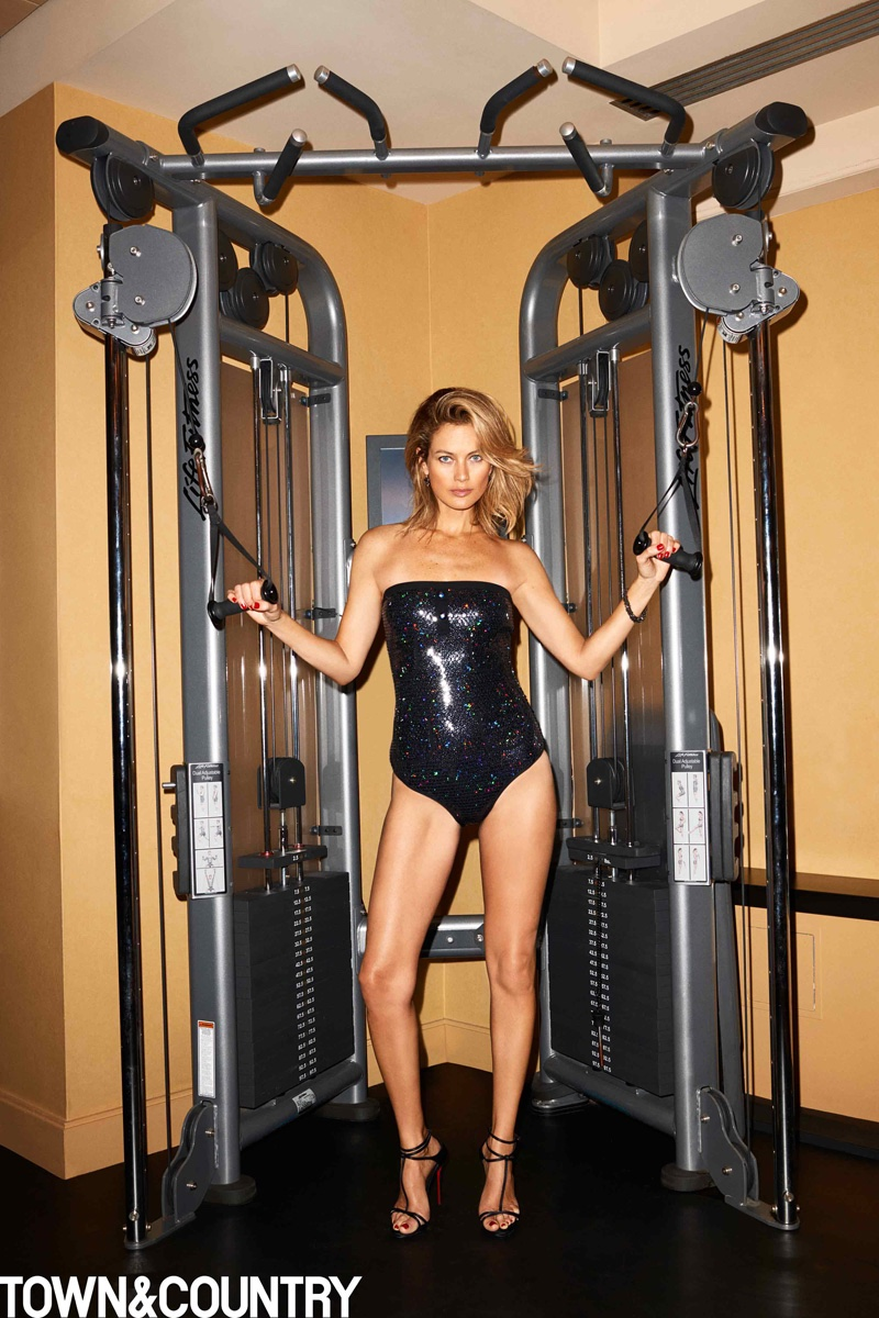 Carolyn Murphy shows some glam workout attire in a Chanel swimsuit with Christian Louboutin heels