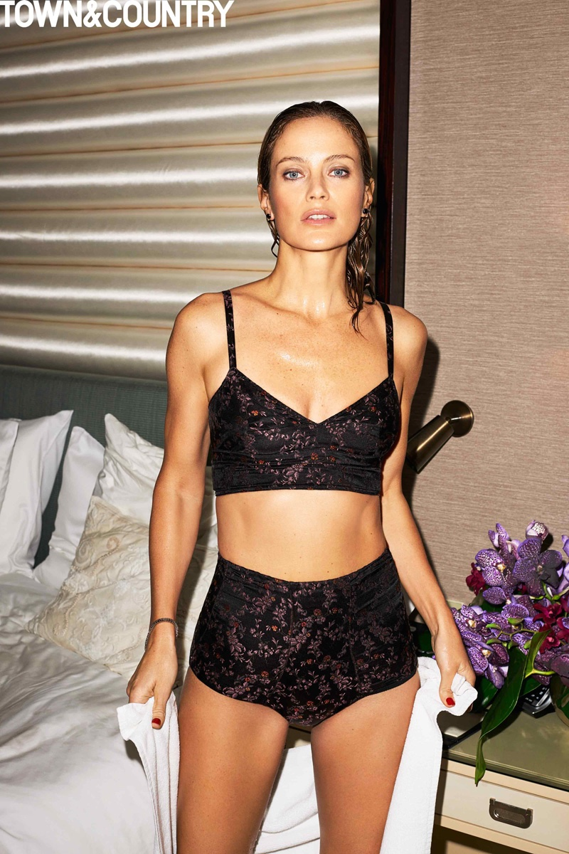 Carolyn Murphy poses in an Etro bra and briefs in black