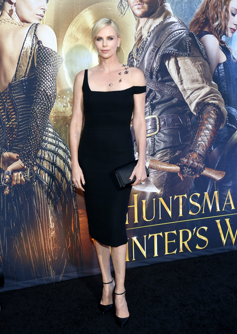 APRIL 2016: Charlize Theron attends The Huntsman: Winter's War Los Angeles premiere wearing a black Dior Haute Couture dress. Photo: Tinseltown / Shutterstock.com