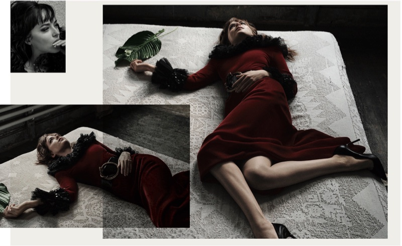 Lounging on a bed, Dakota Johnson wears a Saint Laurent belt and dress with Manolo Blahnik heels