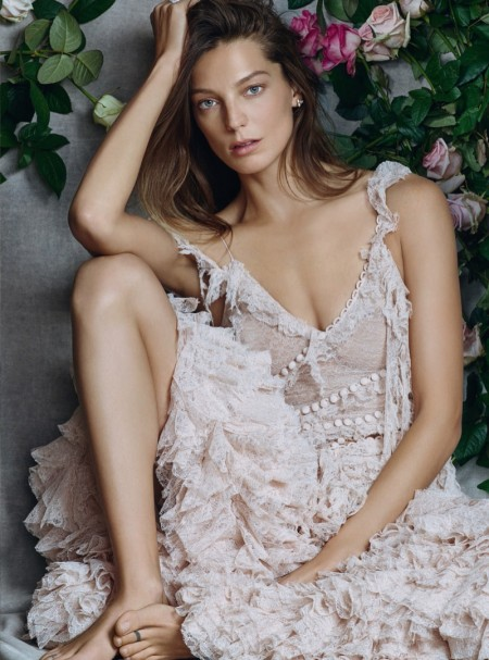 Daria Werbowy Wears the Most Romantic Spring Looks for BAZAAR UK