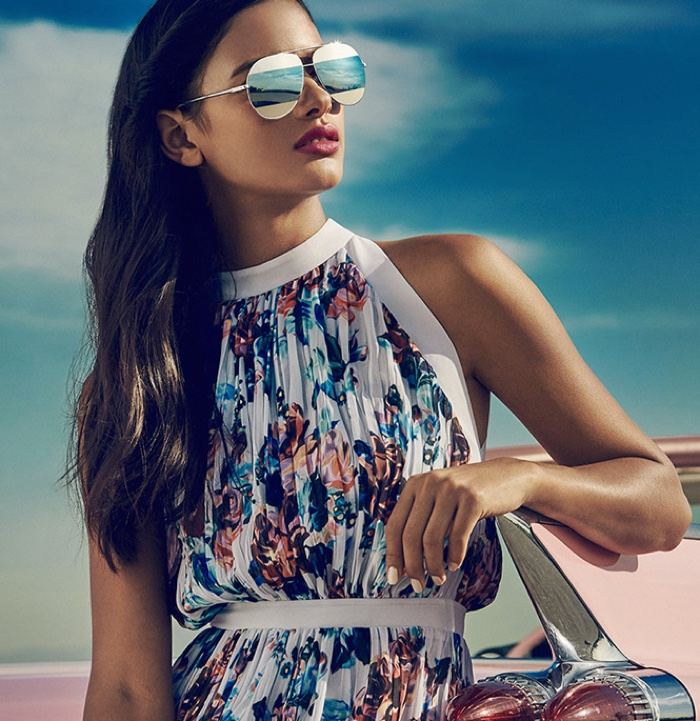 Dior Aviator Sunglasses, Mary Katrantzou Printed Dress